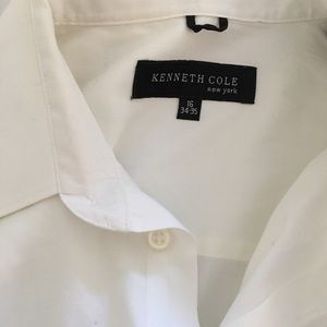 Kenneth Cole Men's White Button Shirt Neck 16